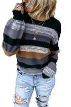 Gray Color Block Highlight Balloon Sleeve Sweater LC272115-11