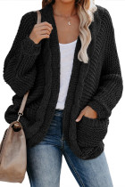 Black Chunky Knit Solid Cardigan with Pocket LC271005-2