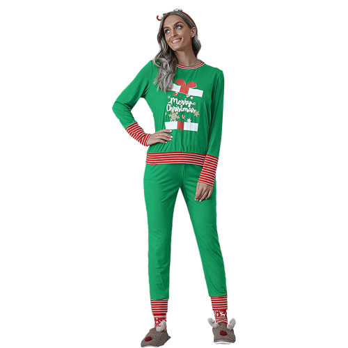 Green Merry Christmas Print Long Sleeve Loungewear Pajama Set TQK710159-9