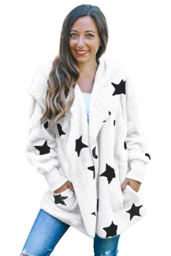 White Lapel Collar Scatter Star Fuzzy Coat LC851325-1