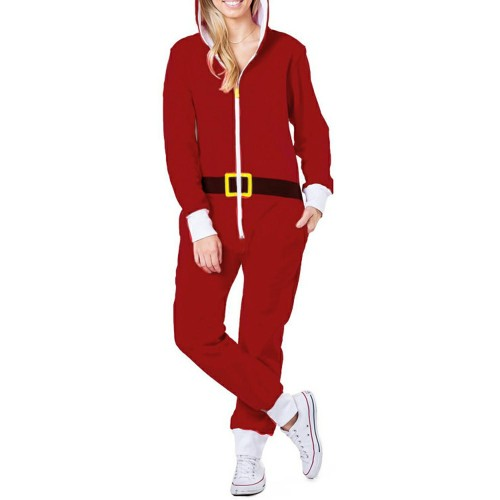 Red Zipper Up Hooded Christmas Loungewear Jumpsuit TQK550208-3D