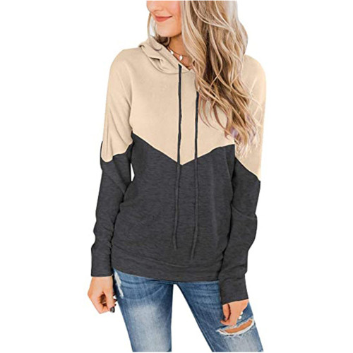 Apricot Colorblock Cotton Blend Drawstring Hoodie TQK230211-18