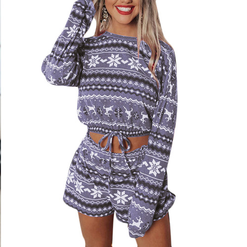 Gray Silver Fox Velvet Snowflake Print Christmas Long Sleeve Shorts Set TQK710158-11