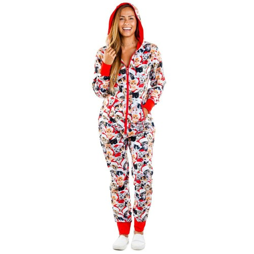 Red All Over Animals Print Zipper Up Hooded Loungewear Jumpsuit TQK550208-3B
