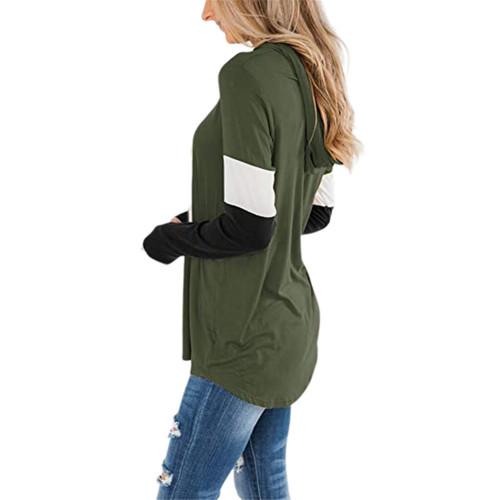 Army Green Splice Black Long Sleeve Drawstring Hoodie TQK230210-27