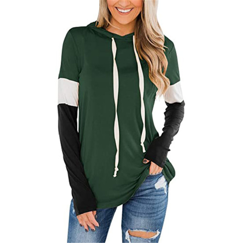 Dark Green Splice Black Long Sleeve Drawstring Hoodie TQK230210-36
