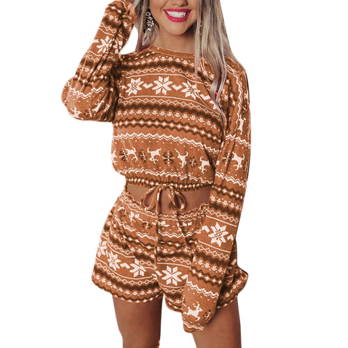 Khaki Silver Fox Velvet Snowflake Print Christmas Long Sleeve Shorts Set TQK710158-21
