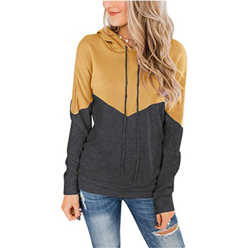 Yellow Colorblock Cotton Blend Drawstring Hoodie TQK230211-7
