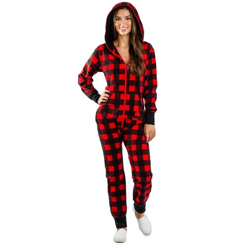 Red Plaid Print Zipper Up Hooded Christmas Loungewear Jumpsuit TQK550208-3E