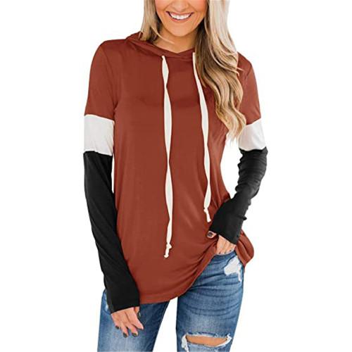 Rust Red Splice Black Long Sleeve Drawstring Hoodie TQK230210-33