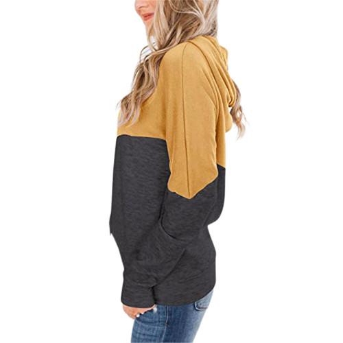 Yellow Colorblock Cotton Blend Drawstring Hoodie TQK230211-7