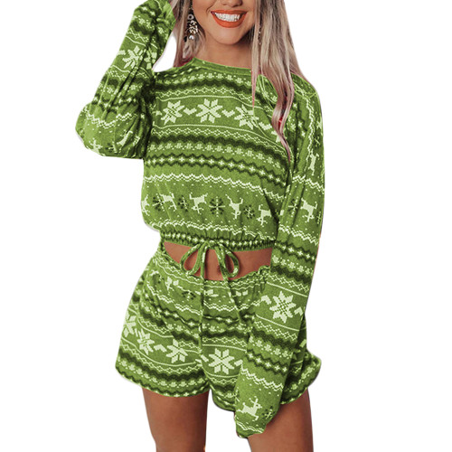 Green Silver Fox Velvet Snowflake Print Christmas Long Sleeve Shorts Set TQK710158-9