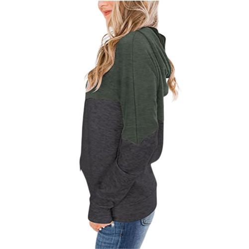 Army Green Colorblock Cotton Blend Drawstring Hoodie TQK230211-27