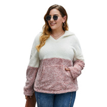 Pink Colorblock Fuzzy Pocketed Plus Size Hoodie TQK230226-10