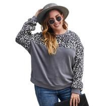 Gray Contrast Leopard Long Sleeve Plus Size Sweatshirt TQK230224-11