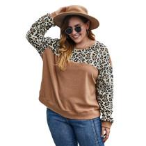 Brown Contrast Leopard Long Sleeve Plus Size Sweatshirt TQK230224-17