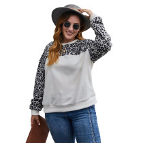White Contrast Leopard Long Sleeve Plus Size Sweatshirt TQK230224-1