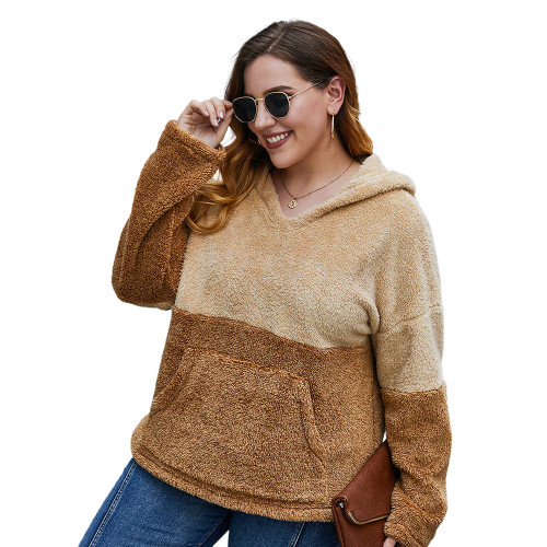 Brown Colorblock Fuzzy Pocketed Plus Size Hoodie TQK230226-17
