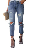 Blue Fading Distressed Holes Crop Jeans LC78064-4
