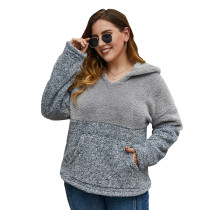 Gray Colorblock Fuzzy Pocketed Plus Size Hoodie TQK230226-11