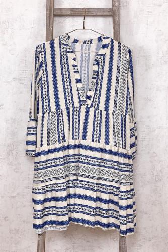 Geometric Print V neck Ruffle Swing Mini Dress LC221397-4