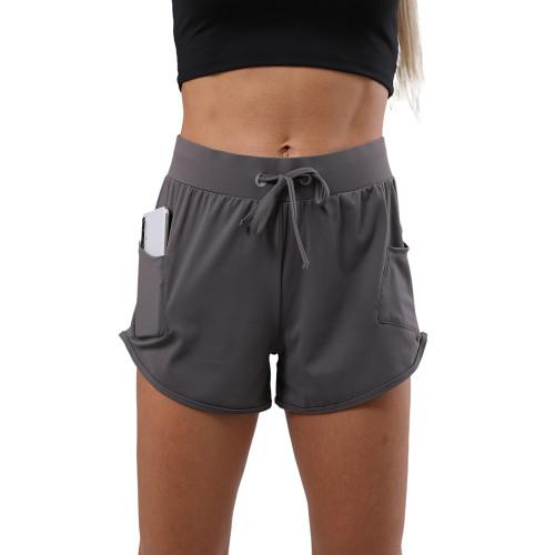 Dark Gray Drawstring Waist Sports Shorts TQE80041-23