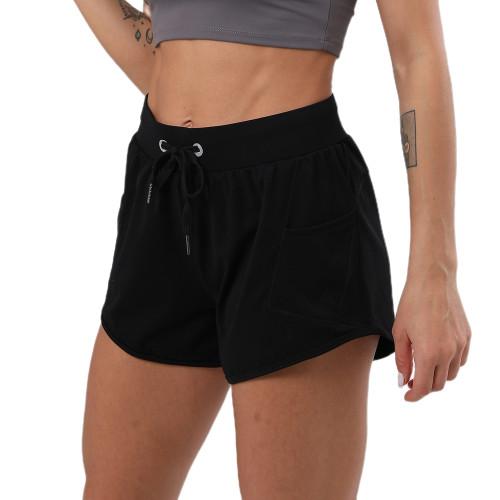Black Drawstring Waist Sports Shorts TQE80041-2