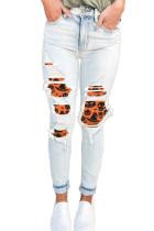 Light Blue Distressed Orange Halloween Print Patch Pocket Zipper Jeans LC78429-104