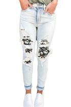 Light Blue Distressed Halloween Print Patch Pocket Zipper Jeans LC78429-4