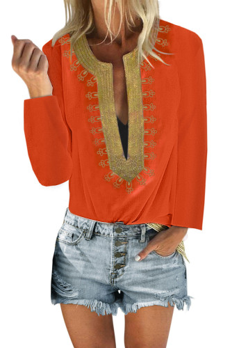 Orange Embroidered Split Neckline Shift Blouse LC255189-14