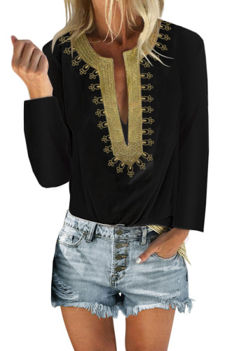 Black Embroidered Split Neckline Shift Blouse LC255189-2