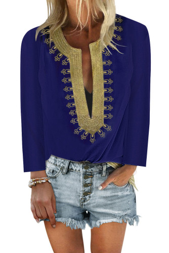 Blue Embroidered Split Neckline Shift Blouse LC255189-5