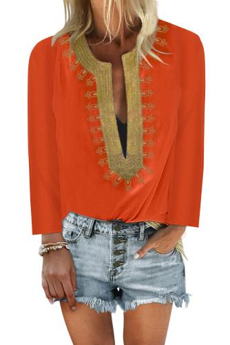 Orange Embroidered Split Neckline Shift Blouse LC255189-14