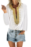 White Embroidered Split Neckline Shift Blouse LC255189-1