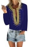 Blue Embroidered Split Neckline Shift Blouse LC255189-5