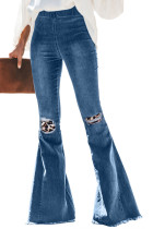Leopard Patchwork Bell Bottom Jeans With Frayed Hem LC78486-20