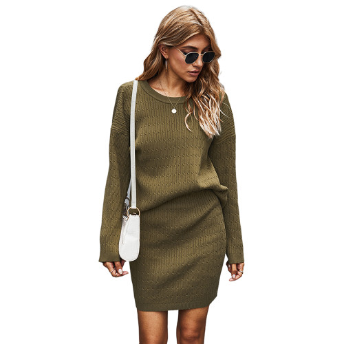 Army Green Long Sleeve Sweater with Skirt Set TQK710164-27