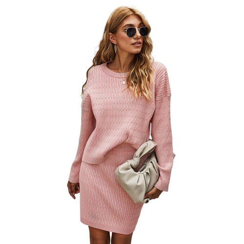 Pink Long Sleeve Sweater with Skirt Set TQK710164-10
