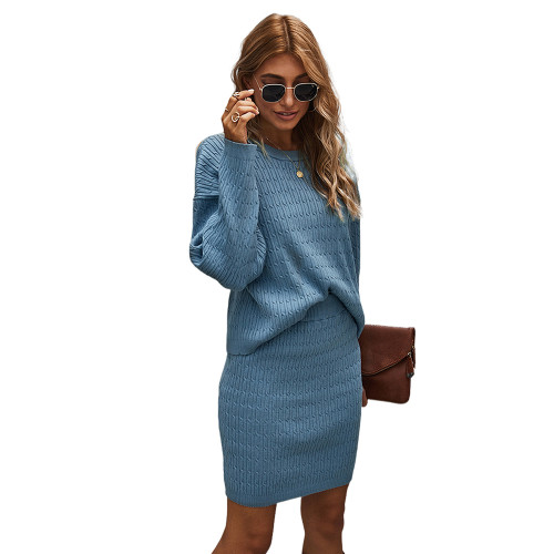 Blue Long Sleeve Sweater with Skirt Set TQK710164-5