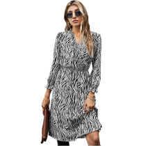 Black White Zebra Print Tie Waist Long Sleeve Dress TQK310412-37