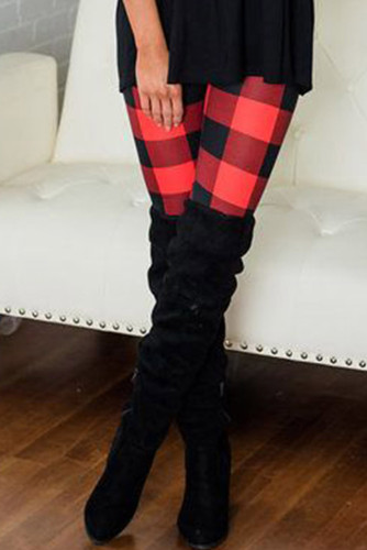 Red Plaid Leggings LC76144-3