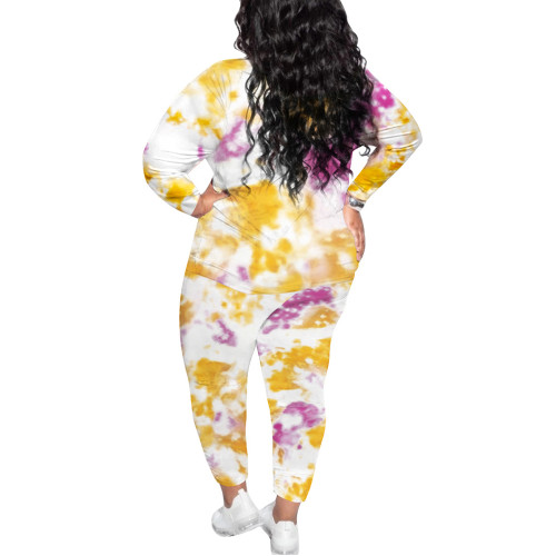 Yellow Tie Dye Print Plus Size 2pcs Loungewear Pajama Set TQK710169-7
