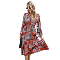 Rust Red Contrast Totem Print Long Sleeve Dress TQK310411-33