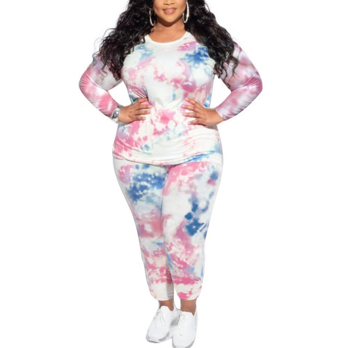 Blue Tie Dye Print Plus Size 2pcs Loungewear Pajama Set TQK710169-5