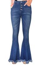 Frayed Hem Flared Denim Jeans LC78446-5