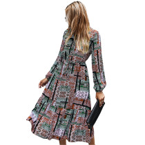 Green Contrast Totem Print Long Sleeve Dress TQK310411-9