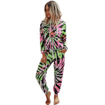 Green All Over Tie Dye Hoodie with Pant Set TQK710167-9