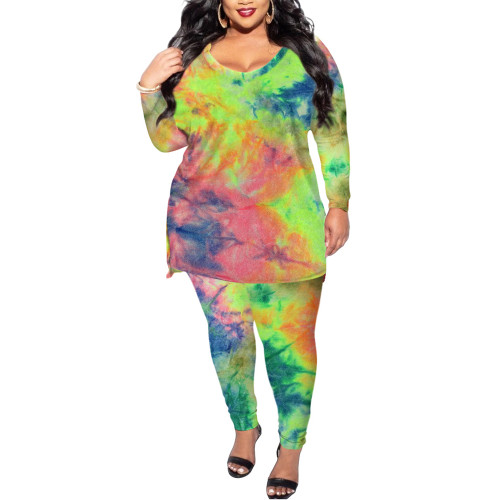 All Over Green Tye Dye Plus Size Longewear Set TQK710170-9