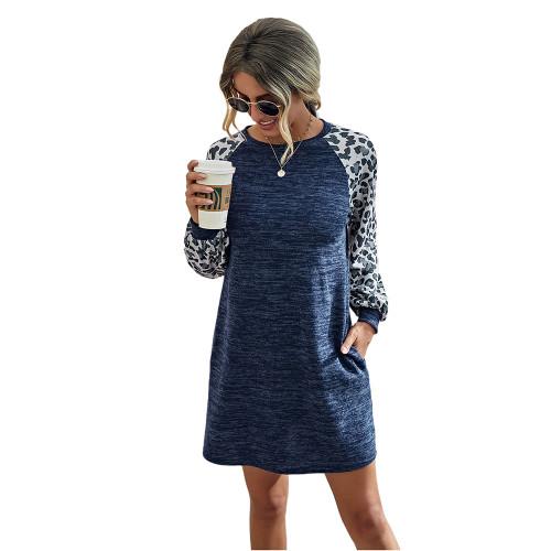 Navy Blue Splice Leopard Long Sleeve Dress TQK310414-34