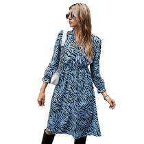 Blue Zebra Print Tie Waist Long Sleeve Dress TQK310412-5